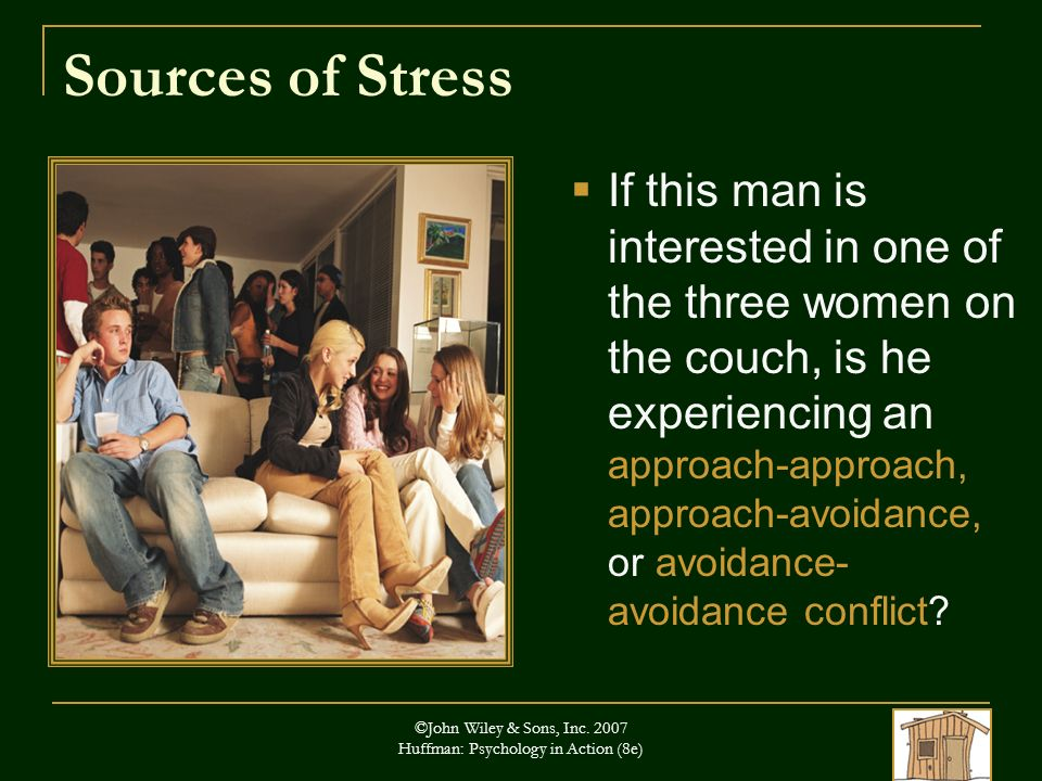 ©John Wiley & Sons, Inc. 2007 Huffman: Psychology in Action (8e) Sources of Stress If this man is interested in one of the three women on the couch, i