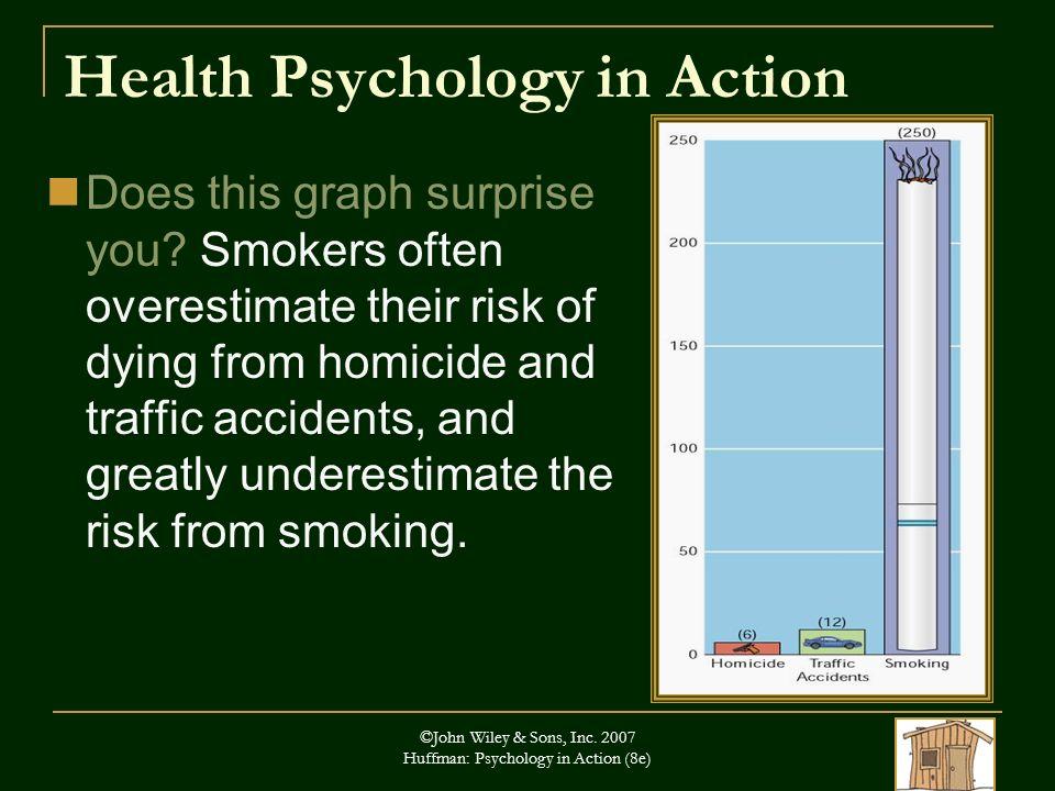 ©John Wiley & Sons, Inc. 2007 Huffman: Psychology in Action (8e) Health Psychology in Action Does this graph surprise you? Smokers often overestimate
