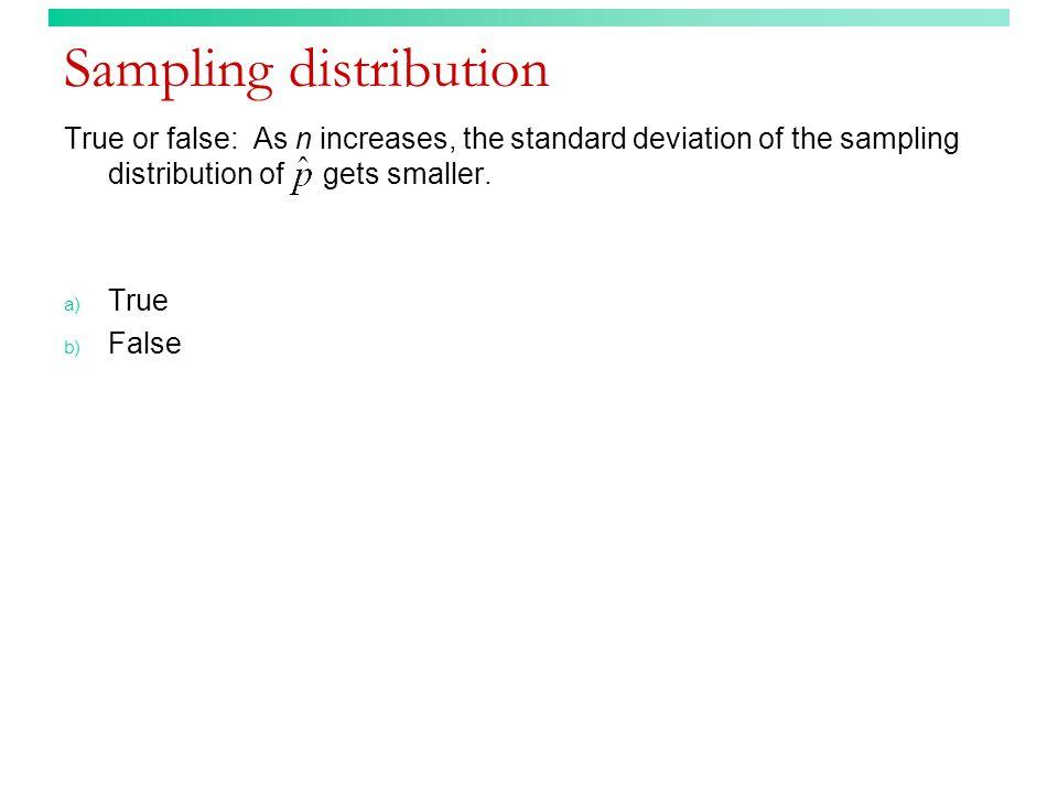 Sampling distribution True or false: As n increases, the standard deviation of the sampling distribution of gets smaller. a) True b) False