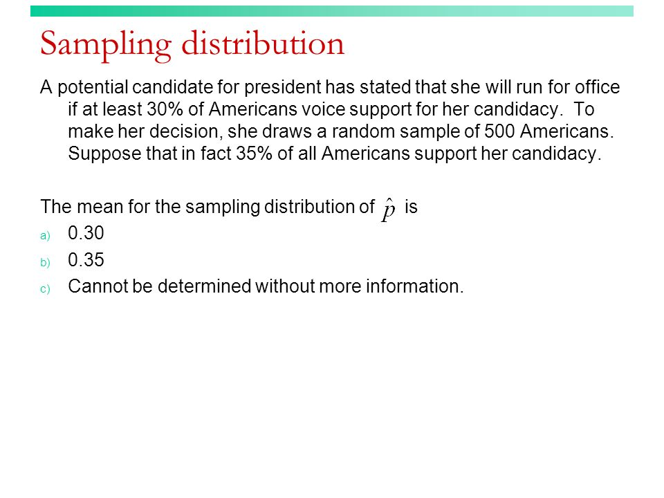 Sampling distribution A potential candidate for president has stated that she will run for office if at least 30% of Americans voice support for her c