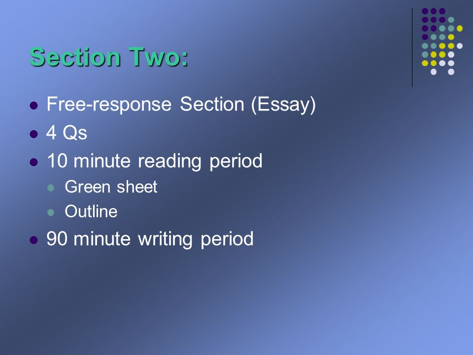 Section Two: Free-response Section (Essay) 4 Qs 10 minute reading period Green sheet Outline 90 minute writing period
