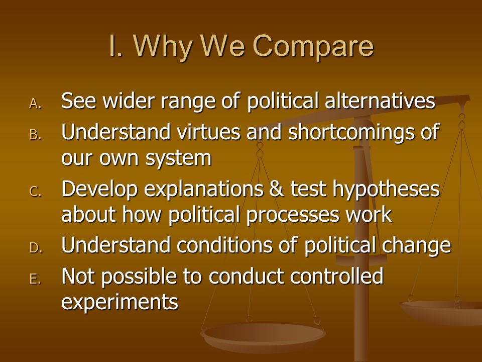 I.Why We Compare A. See wider range of political alternatives B.