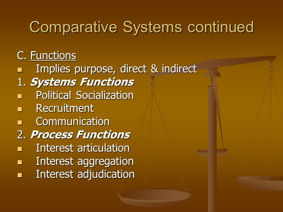 Comparative Systems continued C.