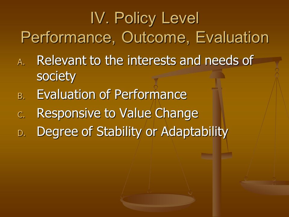 IV.Policy Level Performance, Outcome, Evaluation A.
