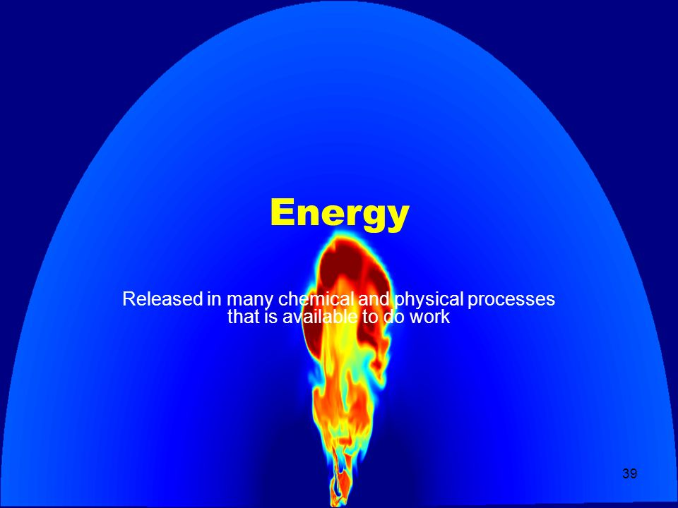 39 Energy Released in many chemical and physical processes that is available to do work