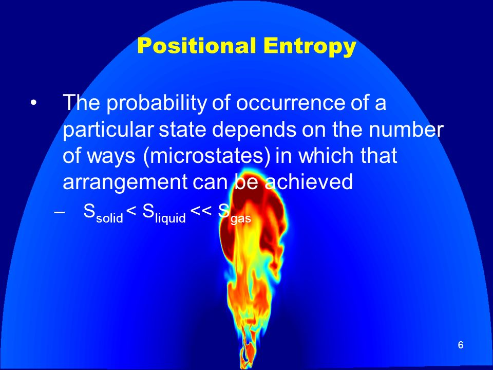 6 Positional Entropy The probability of occurrence of a particular state depends on the number of ways (microstates) in which that arrangement can be