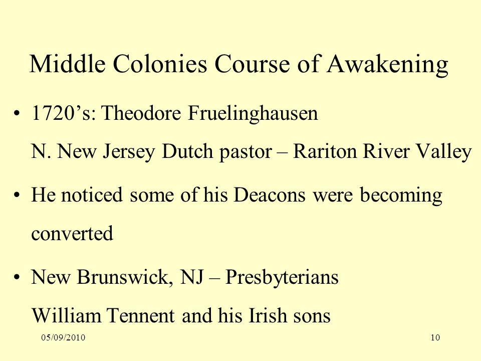 05/09/201010 Middle Colonies Course of Awakening 1720s: Theodore Fruelinghausen N.