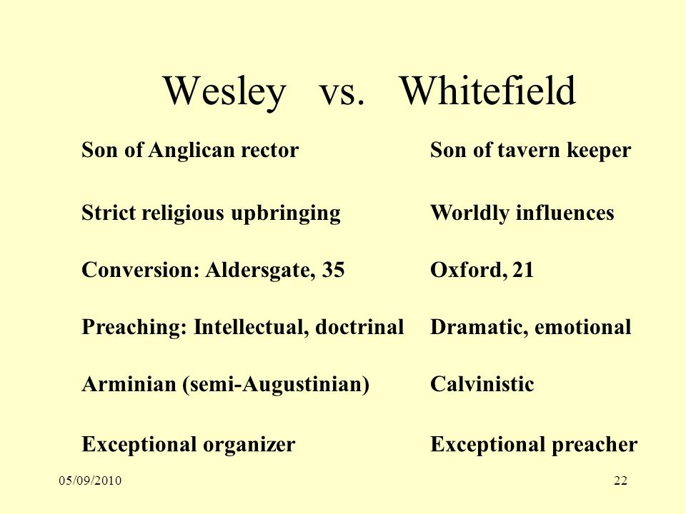 05/09/201022 Wesley vs. Whitefield Son of Anglican rectorSon of tavern keeper Strict religious upbringingWorldly influences Conversion: Aldersgate, 35