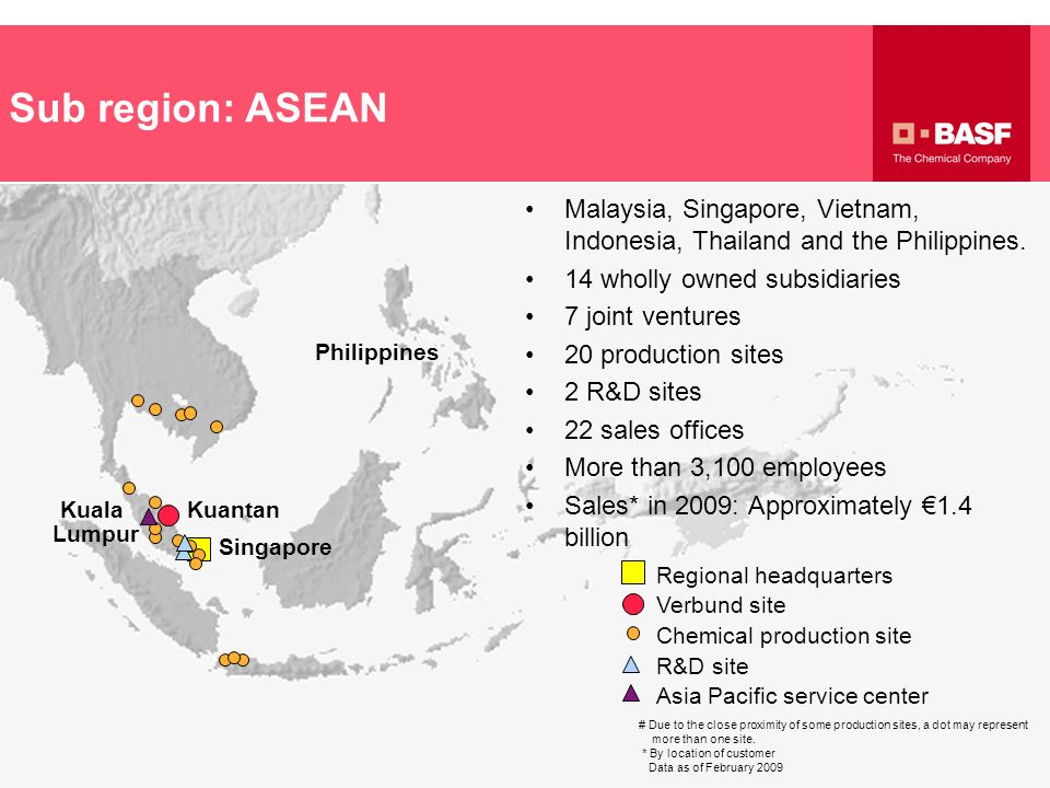 Sub region: ASEAN Regional headquarters Verbund site R&D site Chemical production site Asia Pacific service center Kuala Lumpur Singapore Kuantan # Du