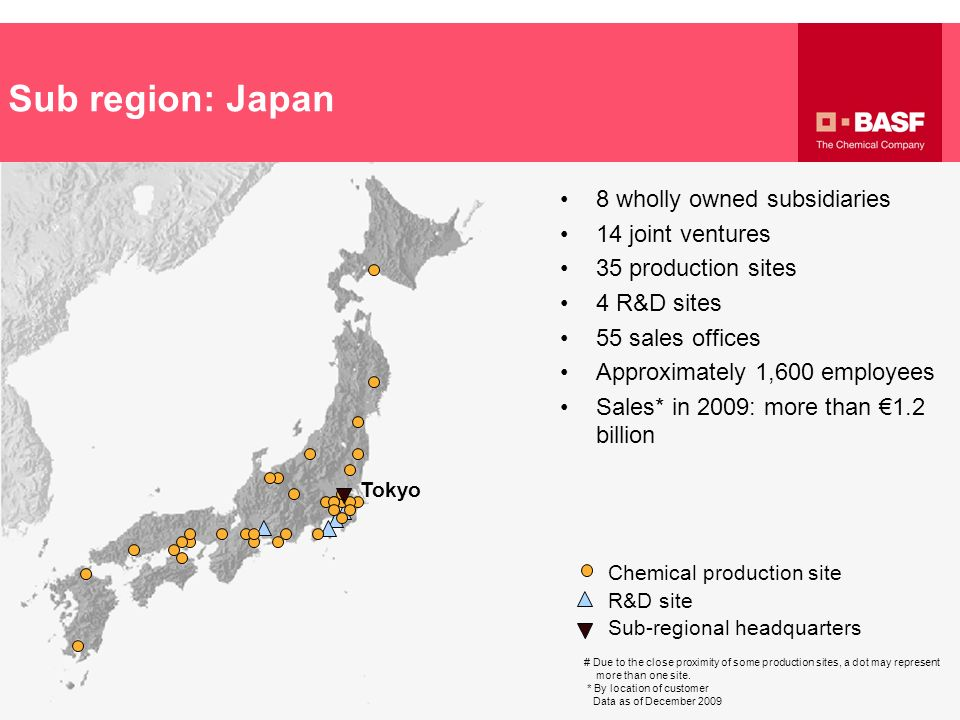 Sub region: Japan R&D site Chemical production site Sub-regional headquarters Tokyo # Due to the close proximity of some production sites, a dot may r