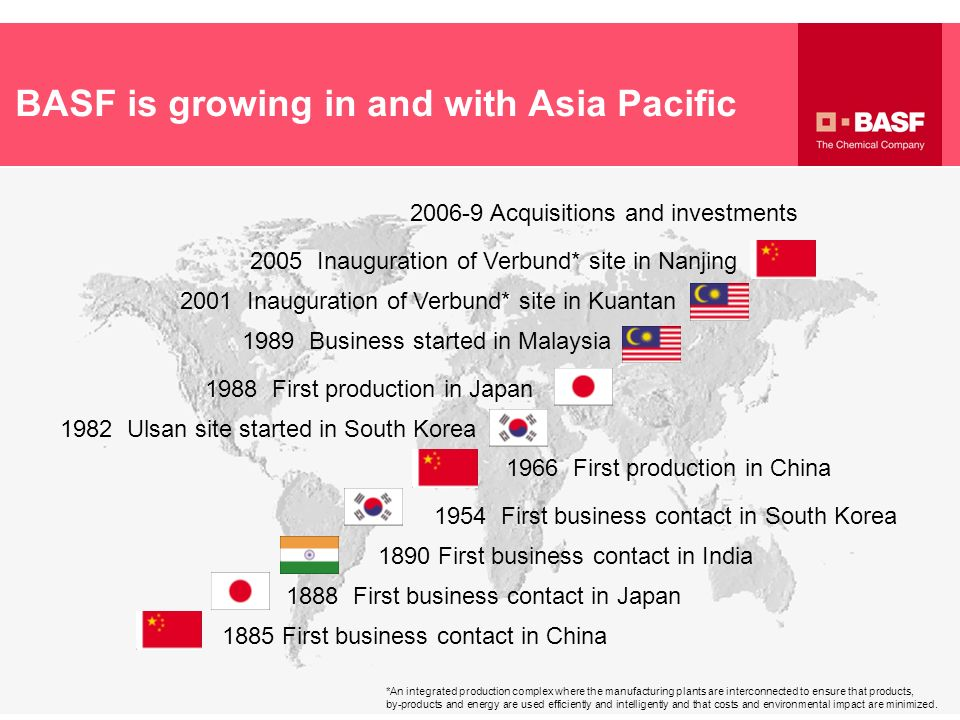BASF is growing in and with Asia Pacific 2006-9 Acquisitions and investments 2005 Inauguration of Verbund* site in Nanjing 2001 Inauguration of Verbun