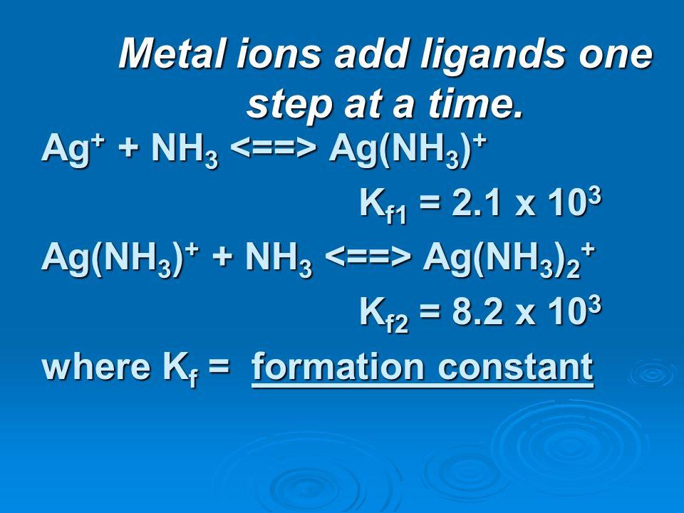 Metal ions add ligands one step at a time. Ag + + NH 3 Ag(NH 3 ) + K f1 = 2.1 x 10 3 K f1 = 2.1 x 10 3 Ag(NH 3 ) + + NH 3 Ag(NH 3 ) 2 + K f2 = 8.2 x 1