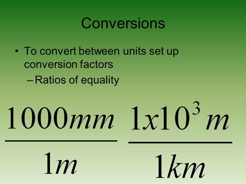 Conversions To convert between units set up conversion factors –Ratios of equality