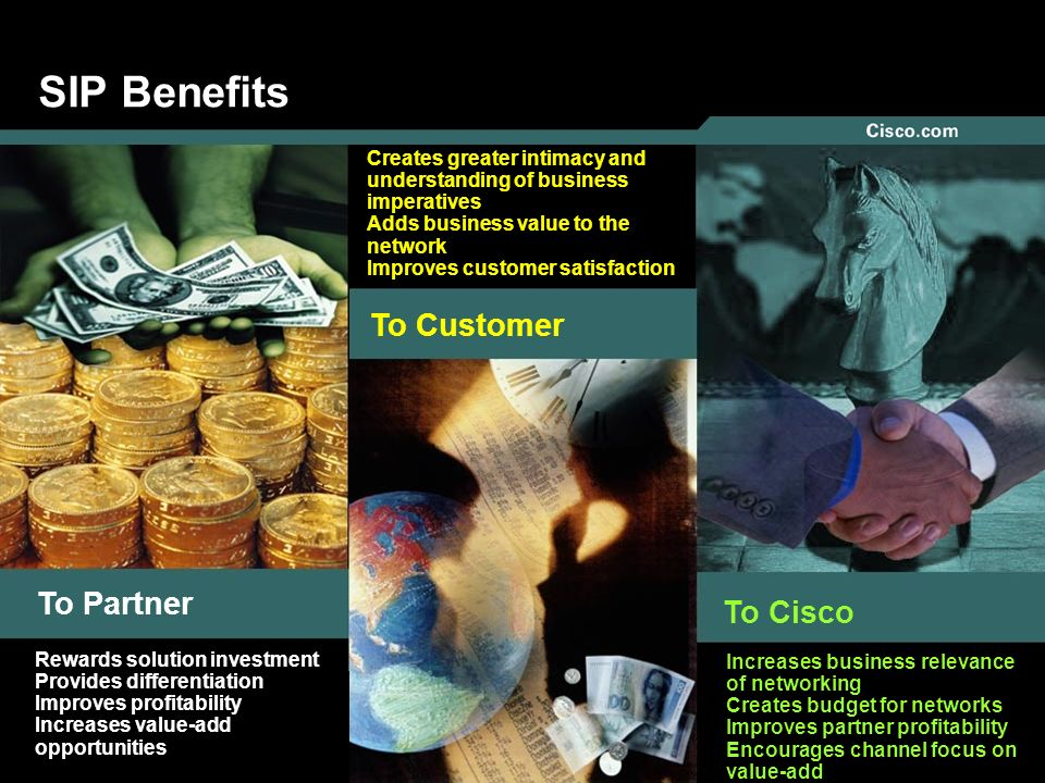 13 © 2005 Cisco Systems, Inc. All rights reserved. SIP Benefits To Partner To Customer To Cisco Creates greater intimacy and understanding of business