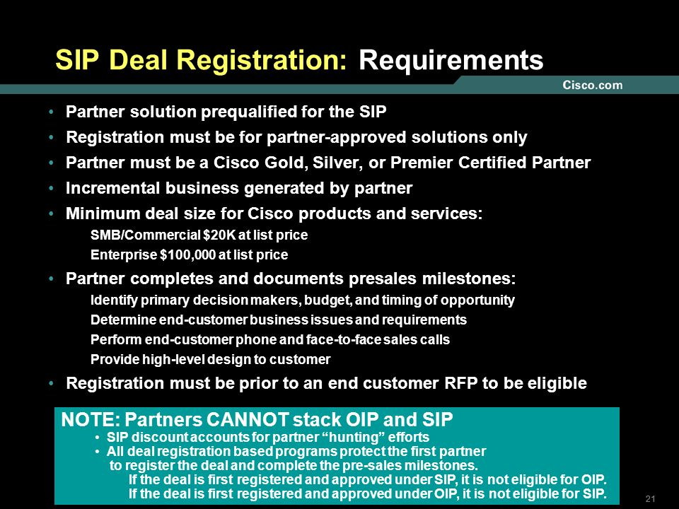 21 © 2005 Cisco Systems, Inc. All rights reserved. SIP Deal Registration: Requirements Partner solution prequalified for the SIP Registration must be