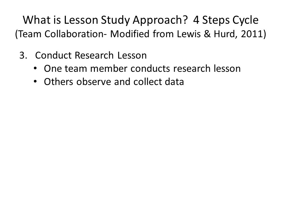 What is Lesson Study Approach? 4 Steps Cycle (Team Collaboration- Modified from Lewis & Hurd, 2011) 3.Conduct Research Lesson One team member conducts