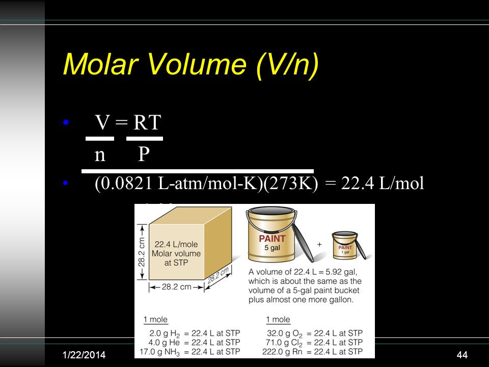 Molar Volume (V/n) V = RT n P (0.0821 L-atm/mol-K)(273K) = 22.4 L/mol 1.00 atm 1/22/201444