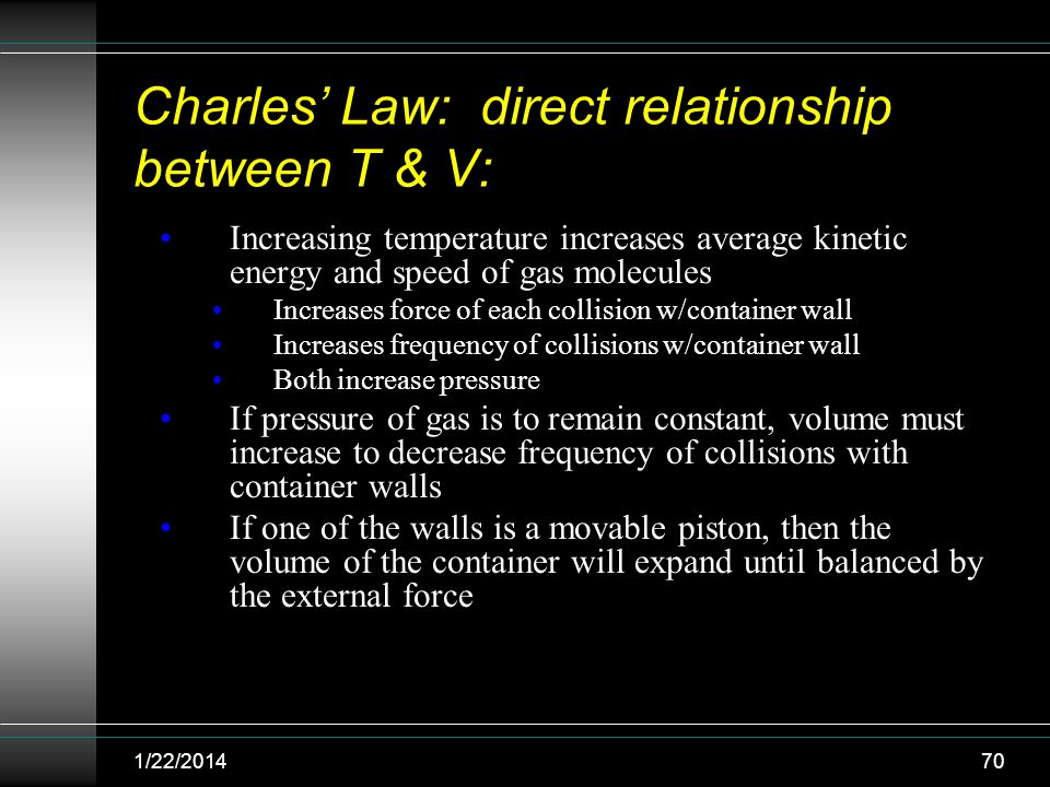 Charles Law: direct relationship between T & V: Increasing temperature increases average kinetic energy and speed of gas molecules Increases force of