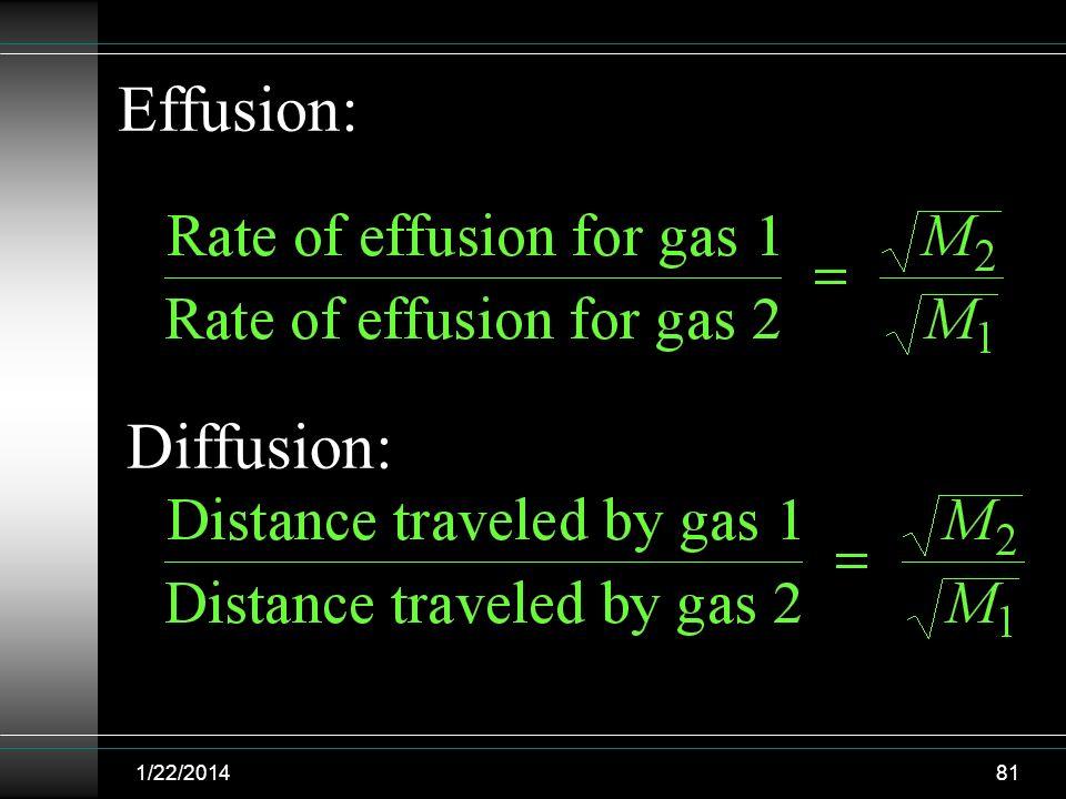 1/22/201481 Effusion: Diffusion: