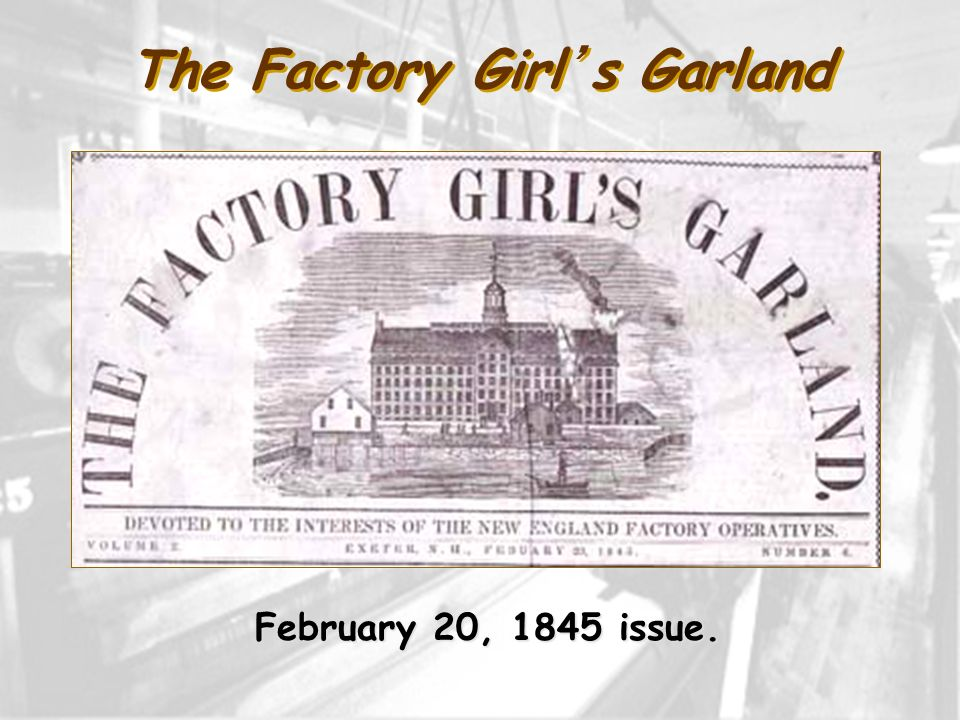 The Factory Girls Garland February 20, 1845 issue.