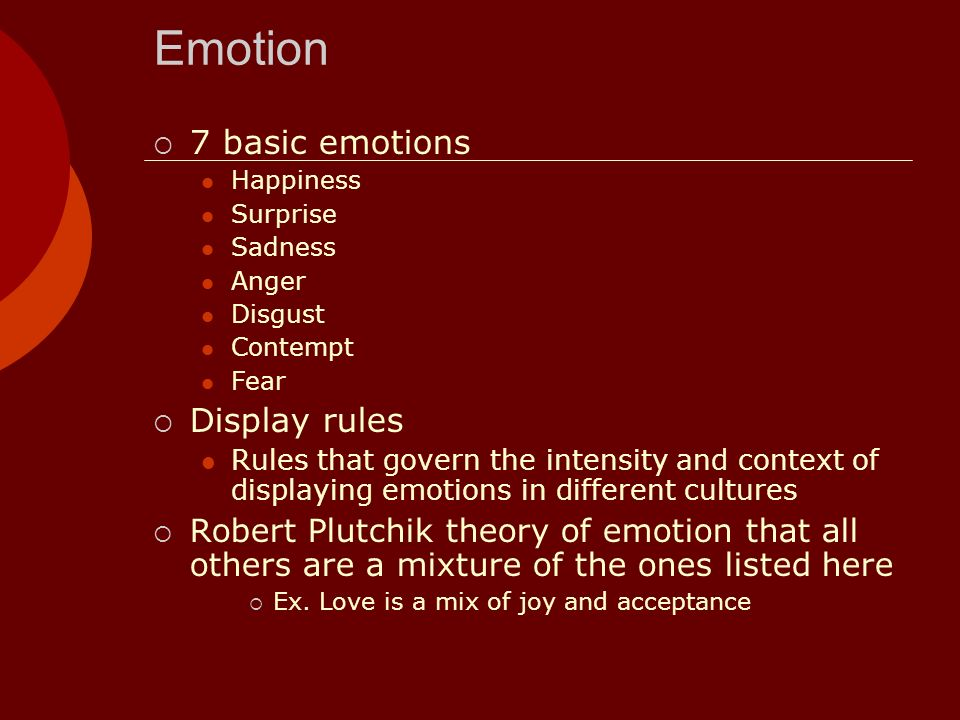 Emotion 7 basic emotions Happiness Surprise Sadness Anger Disgust Contempt Fear Display rules Rules that govern the intensity and context of displayin