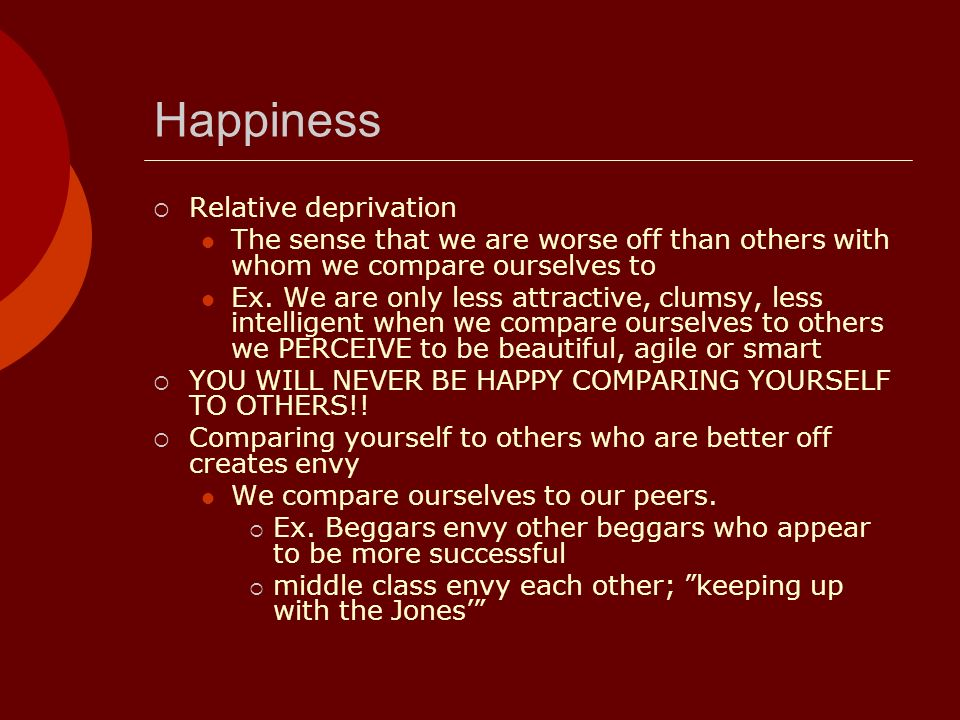 Happiness Relative deprivation The sense that we are worse off than others with whom we compare ourselves to Ex. We are only less attractive, clumsy,
