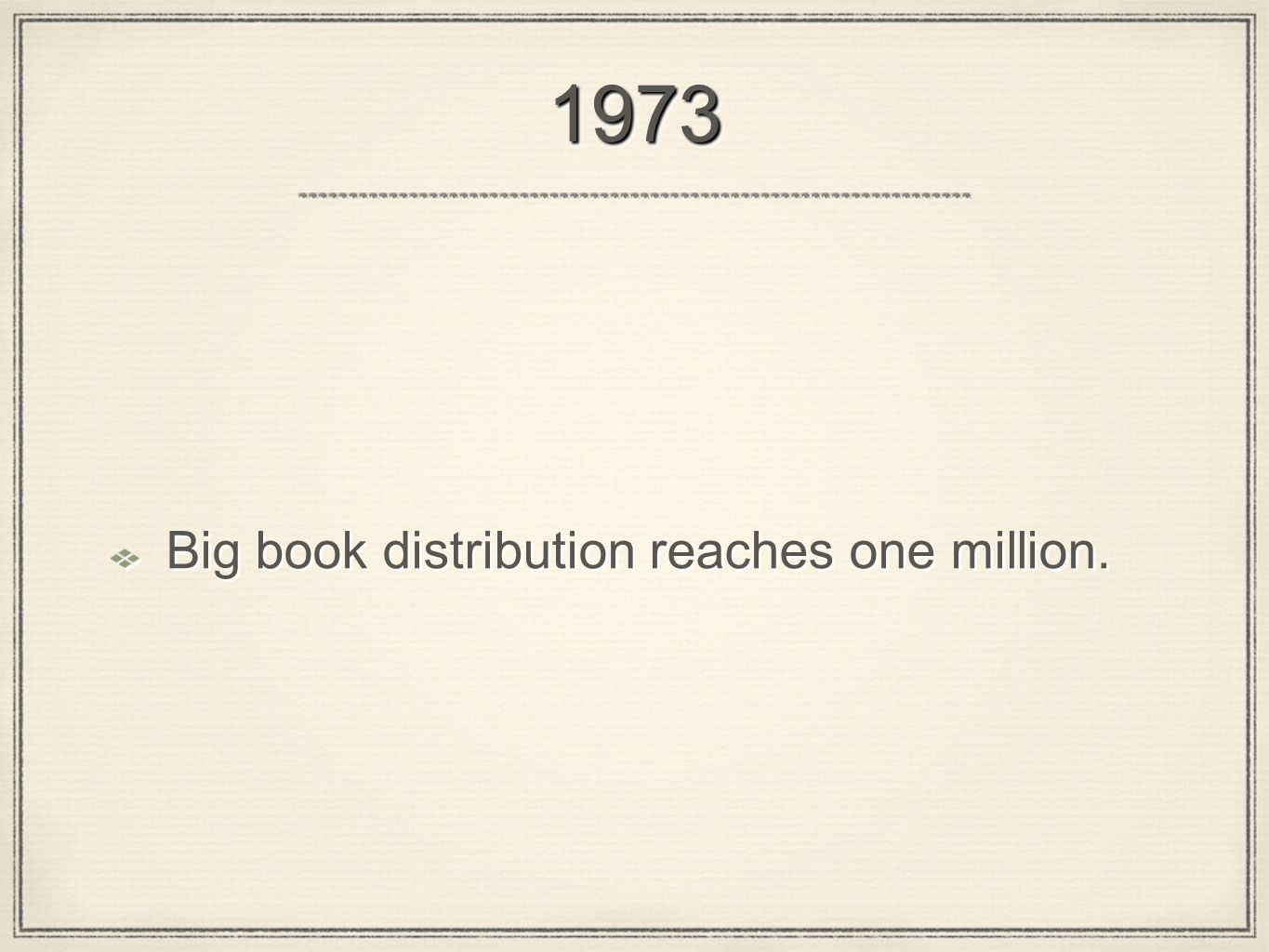 19731973 Big book distribution reaches one million.