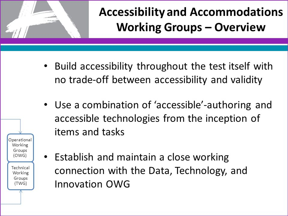 Accessibility and Accommodations Working Groups – Overview Build accessibility throughout the test itself with no trade-off between accessibility and validity Use a combination of accessible-authoring and accessible technologies from the inception of items and tasks Establish and maintain a close working connection with the Data, Technology, and Innovation OWG Technical Working Groups (TWG) Operational Working Groups (OWG)
