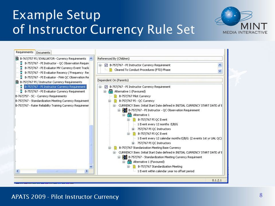 8 APATS 2009 - Pilot Instructor Currency Example Setup of Instructor Currency Rule Set