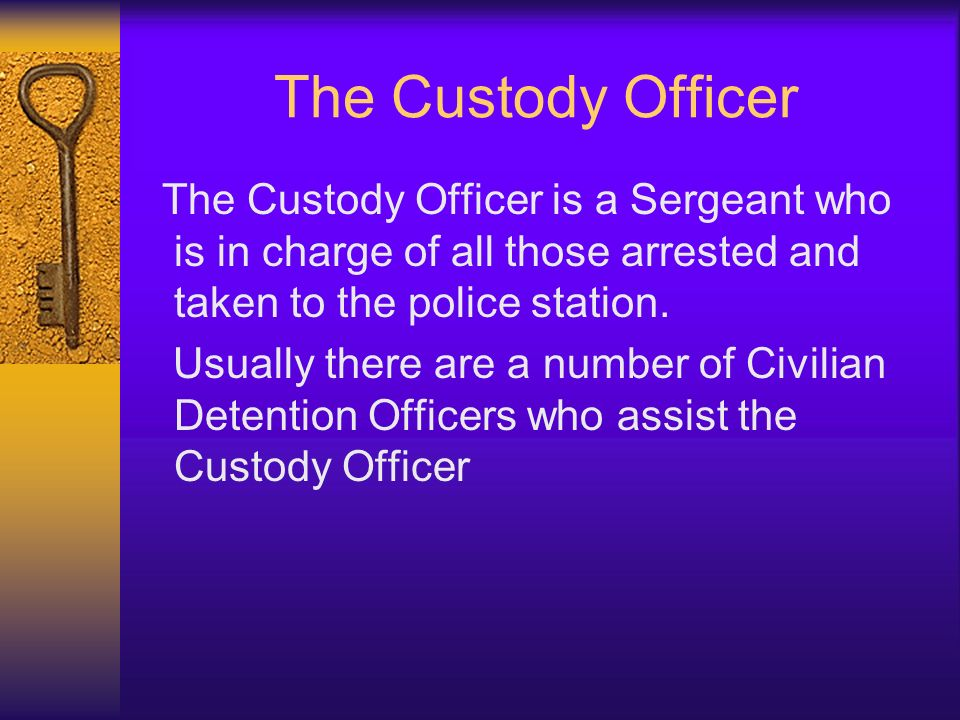 The Custody Officer The Custody Officer is a Sergeant who is in charge of all those arrested and taken to the police station. Usually there are a numb