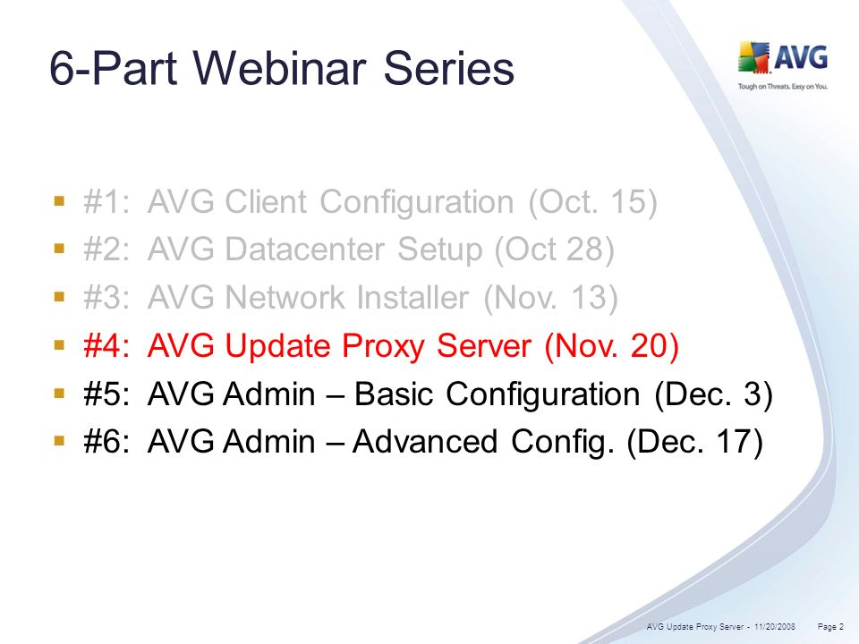 6-Part Webinar Series #1: AVG Client Configuration (Oct.