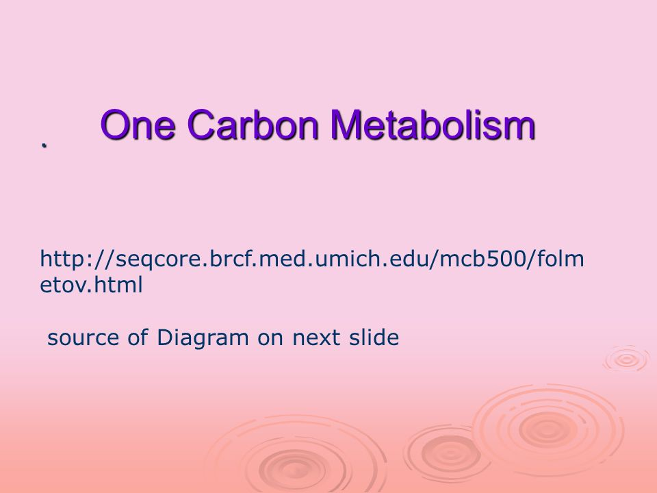One Carbon Metabolism. http://seqcore.brcf.med.umich.edu/mcb500/folm etov.html source of Diagram on next slide