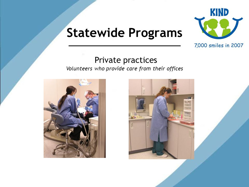 Statewide Programs Private practices Volunteers who provide care from their offices