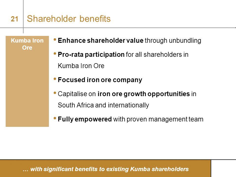21 Shareholder benefits Enhance shareholder value through unbundling Pro-rata participation for all shareholders in Kumba Iron Ore Focused iron ore co