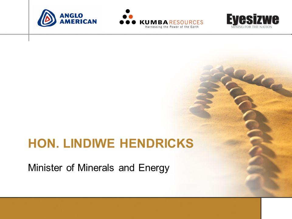 HON. LINDIWE HENDRICKS Minister of Minerals and Energy