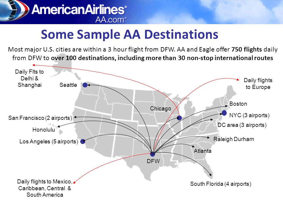 Some Sample AA Destinations Daily Flts to Delhi & Shanghai Most major U.S. cities are within a 3 hour flight from DFW. AA and Eagle offer 750 flights