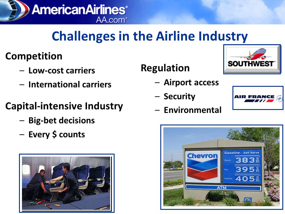 Challenges in the Airline Industry Competition –Low-cost carriers –International carriers Regulation –Airport access –Security –Environmental Capital-