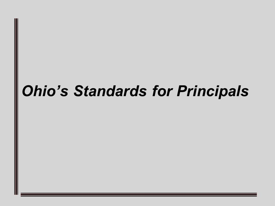 Ohios Standards for Principals