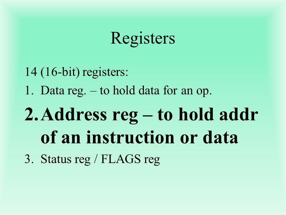 Registers 14(16-bit) registers: 1.Data reg. – to hold data for an op. 2.Address reg – to hold addr of an instruction or data 3.Status reg / FLAGS reg