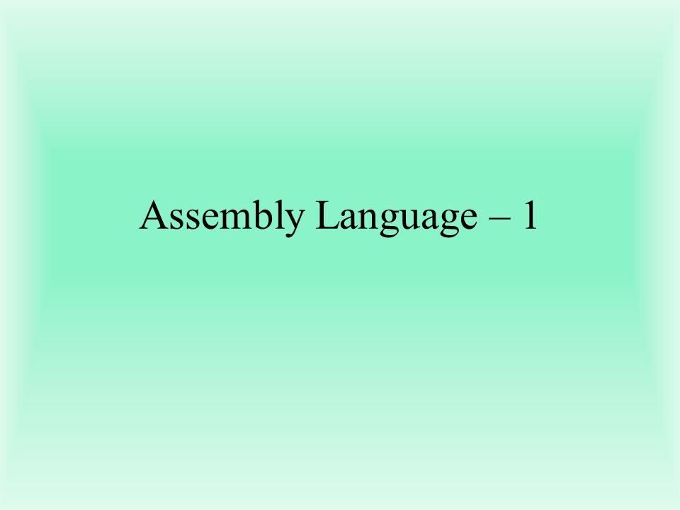 Assembly Language – 1