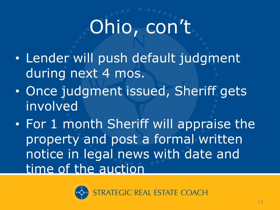 14 Ohio, cont Lender will push default judgment during next 4 mos.