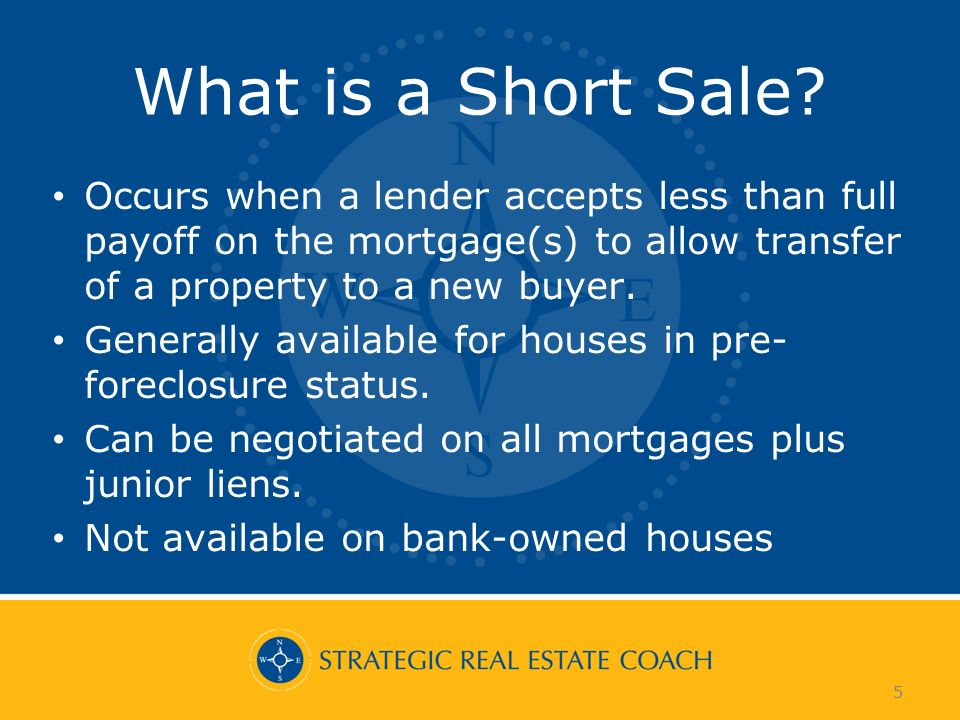 5 What is a Short Sale? Occurs when a lender accepts less than full payoff on the mortgage(s) to allow transfer of a property to a new buyer. Generall