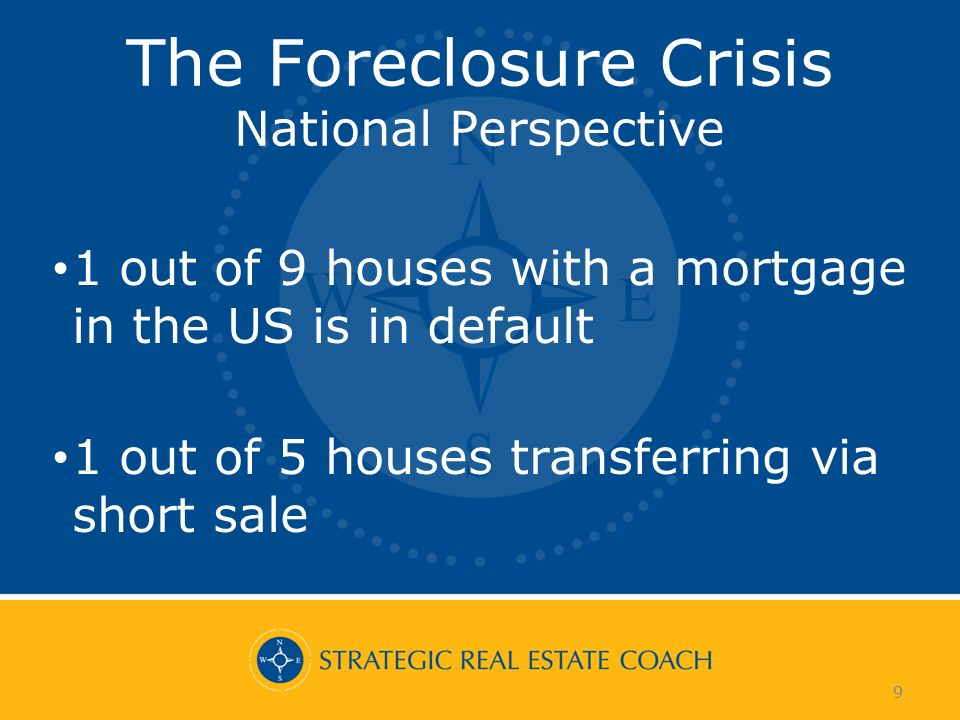 9 The Foreclosure Crisis National Perspective 1 out of 9 houses with a mortgage in the US is in default 1 out of 5 houses transferring via short sale 9