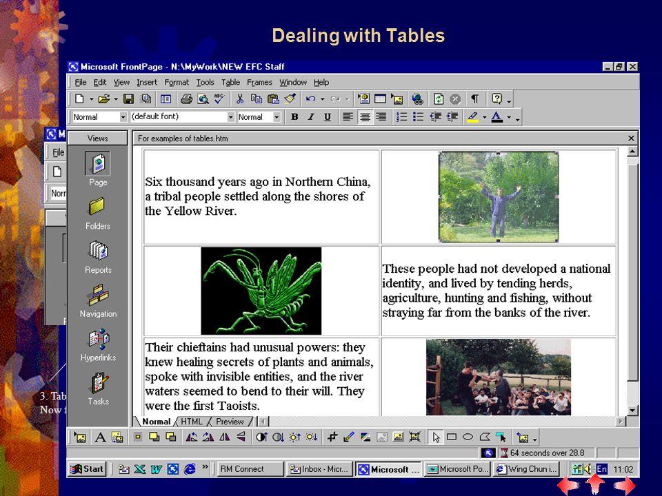 1. Click create table button 2. Specify table size e.g.