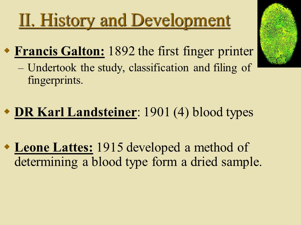 II. History and Development II. History and Development Major Scientists: Mathieu Orfila: 1814 father of forensic toxicology. Alphonse Bertillon: 1879