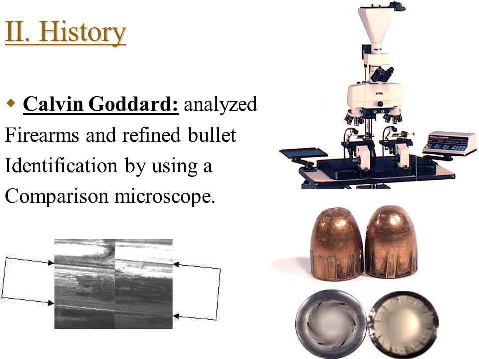 II. History and Development Francis Galton: 1892 the first finger printer – Undertook the study, classification and filing of fingerprints. DR Karl La