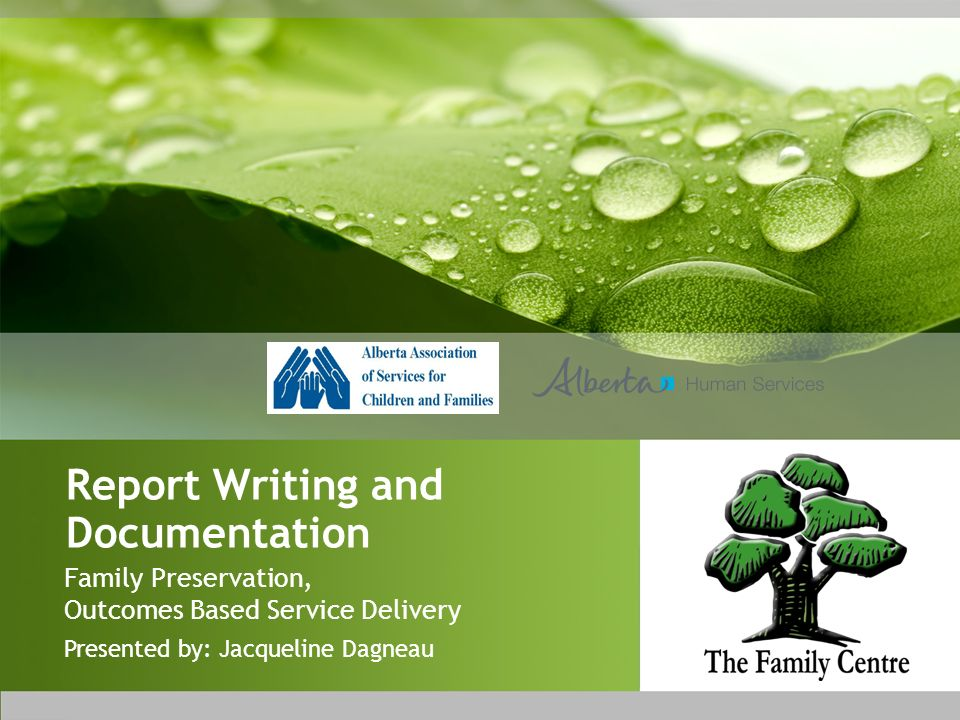 Report Writing and Documentation Family Preservation, Outcomes Based Service Delivery Presented by: Jacqueline Dagneau