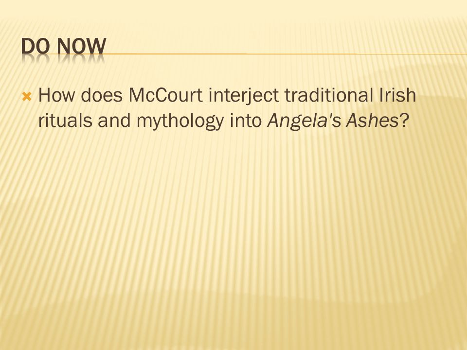 How does McCourt interject traditional Irish rituals and mythology into Angela's Ashes?