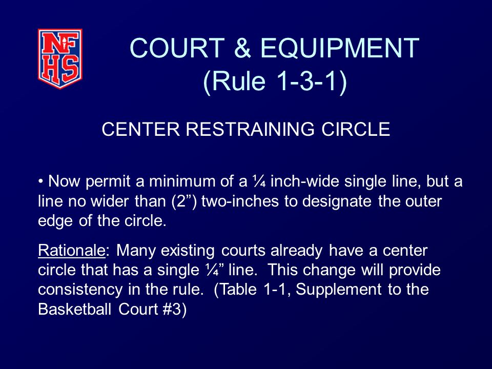 COURT & EQUIPMENT (Rule 1-3-1) CENTER RESTRAINING CIRCLE Now permit a minimum of a ¼ inch-wide single line, but a line no wider than (2) two-inches to