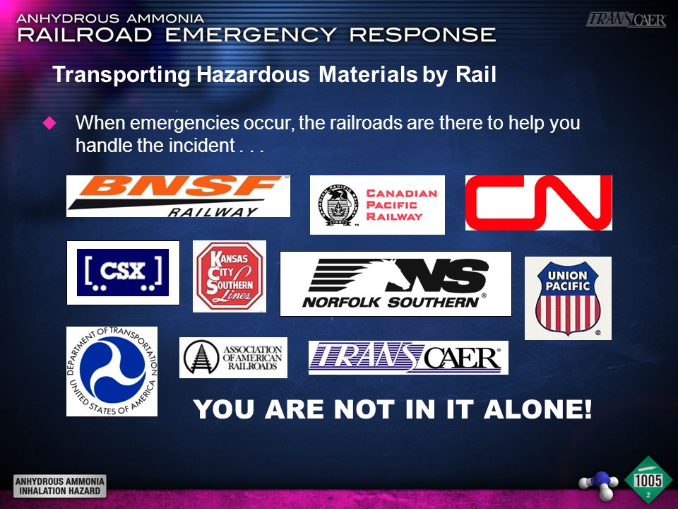 YOU ARE NOT IN IT ALONE! u When emergencies occur, the railroads are there to help you handle the incident... Transporting Hazardous Materials by Rail